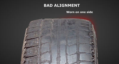 bad wheel alignment causes premature tyre wear