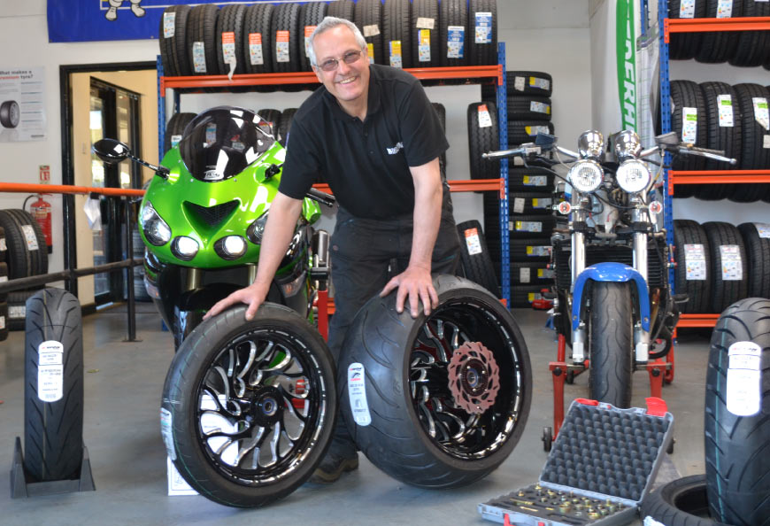 Carmelo Muscato motorbike tyre expert at Redruth TyreFinders in Cornwall